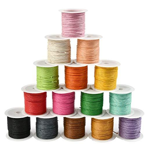 WOWOSS 15 Rollen Gewachste Baumwollschnur Wachsband Baumwollkordel 10m Ø 1mm für Schmuckherstellung DIY Handwerk Machen