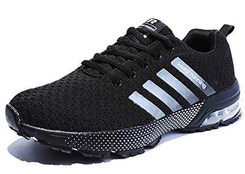 Damen Herren Laufschuhe Sportschuhe Turnschuhe Trainers Running Fitness Atmungsaktiv Sneakers(Pures Schwarz,Größe42)