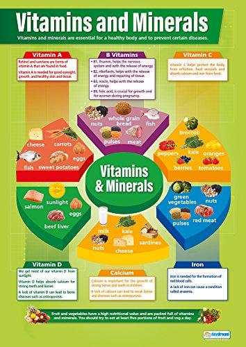 Vitamine und minerals|design und Technologie Educational Wand Diagramm/Poster in Laminiertes Papier (A1850mm x 594mm) (Vitamin-und Mineral-diagramm)