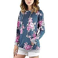 PAOLIAN Damen Frauen Floral Blumendruck Kapuzenpullover lose Sweatshirt Oberseiten Blusen Mantel preisvergleich bei billige-tabletten.eu