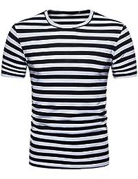 Camisetas Hombre Manga Corta,Venmo Hombres Verano Rayas Casual Cuello Redondo Camisetas Deporte Ropa Deportiva