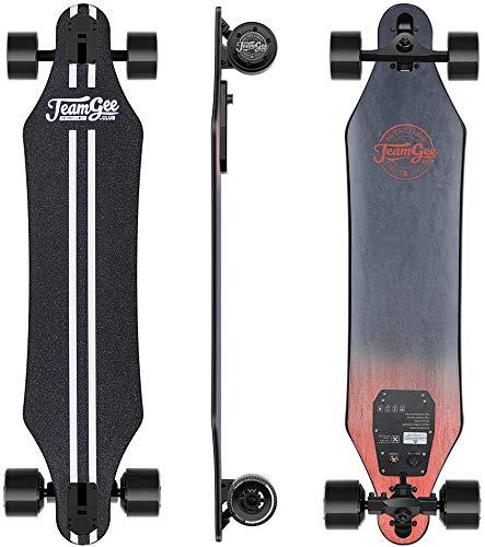 Teamgee H5 - Elektro Longboard E-Longboard mit Fernbedienung, Integrierte Akku Dual Motor, bis zu 35km/h, bis zu 18km Reichweit, Ahornholz Deck, Für Pendelverkehr Jugendliche Erwachsene