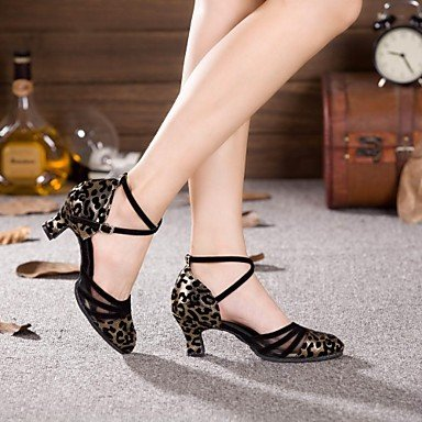 XIAMUO Women's Dance Schuhe Moderne synthetische Cuban Heel mehr Farben Schwarz und Silber