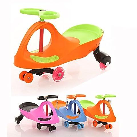 Fascol Porteur Vélo et Véhicule pour Enfant 3-8 ans Ride on Wiggle Car multi-directionnel Trotteur Totomobile car lumineux roues Orange