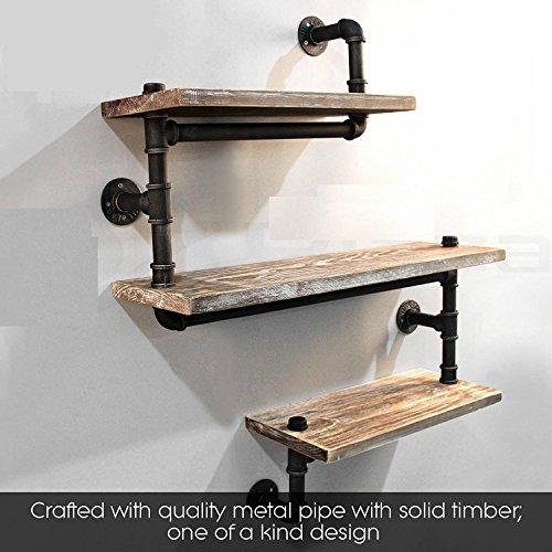 3-Tier-Industrie-Rohr Regal Bücherregal, rustikale Holzleiter Wandregal, Eisen Wasserleitung Design, DIY schwimmenden Regal