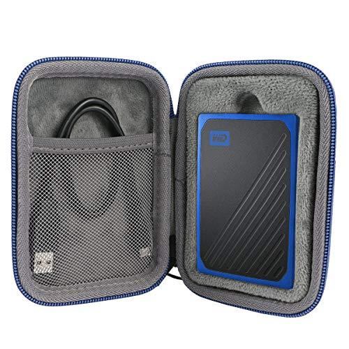 co2CREA Duro Viaggio Custodia Caso Copertina per WD My Passport Go SSD Portatile 500GB / 1TB(Travel Case) (Cerniera Blu)