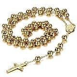 Oidea Herren Damen Halskette mit Anhänger, Edelstahl Christus Jesus Kruzifix Kreuz Rosenkranz Kugelkette Kette Halskette, Schwarz (Gold Halskette)