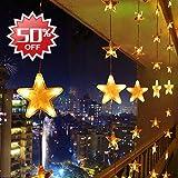 LED Lichterkette Warmweiß 80 Sterne Lichtervorhang 140 LED Außen Innen Sternenvorhang mit Fernbedienung Weihnachtsbeleuchtung für Bett Fenster Schlafzimmer Weihnachten Partylichterkette 31V 8 Funktionstyp Lichterkette mit Memory Funktion
