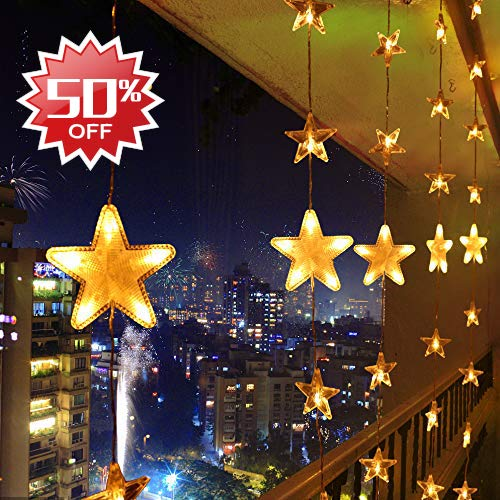LED Lichterkette Warmweiß 80 Sterne Lichtervorhang 140 LED Außen Innen Sternenvorhang Fernbedienung Weihnachtsbeleuchtung Schlafzimmer Weihnachten Partylichterkette 31V 8 Lichtereffekt mit Memory
