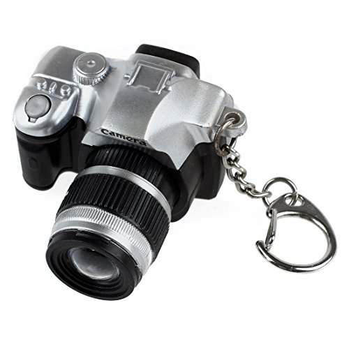 Preisvergleich Produktbild Kamera Form Schluesselring - TOOGOO(R) Mini Digital Spiegelreflexkamera Stil LED Blitzlicht Verschluss Klang Schluesselring(Farbe Random)