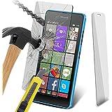 ONX3® (1er Pack) Microsoft Lumia 540 Dual Sim Hülle Abdeckung Cover Case schutzhülle Tasche Custom Made Fall nach Maß Hartglas Crystal Clear LCD Display Schutzfolien Packs mit Poliertuch & Application Karte
