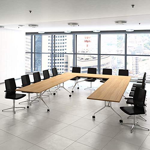 Weber Büro Falttisch Klapptisch 2.800 x 1.000 mm Libro Eiche Konferenztisch klappbar rollbar auf...