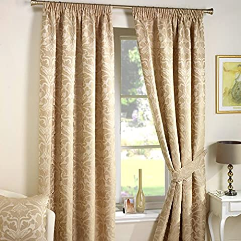 Just Contempo Luxury Jacquard Pencil Pleat Lined Curtains, Cream, 90x72 inches