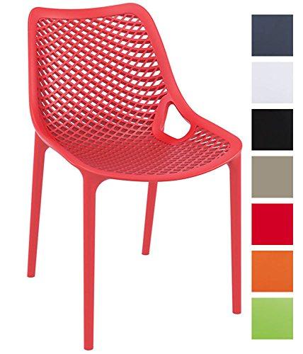 CLP XXL-Bistrostuhl AIR aus Kunststoff I Gartenstuhl mit einer Sitzhöhe von 44 cm I Outdoor-Stuhl mit Wabenmuster I In verschiedenen Farben erhältlich Rot