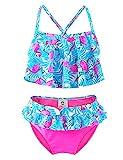 IKALI Mädchen Bademode Bikini Set, 50 UPF UV Sonnenschutz Flamingo Badeanzug, Kleinkind Sommer Strand Sport