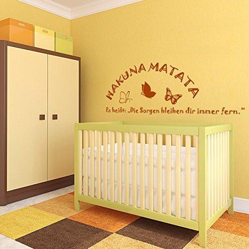 denoda HAKUNA MATATA - Wandtattoo Hellrotorange 66 x 25 cm (Wandsticker Wanddekoration Wohndeko Wohnzimmer Kinderzimmer Schlafzimmer Wand Aufkleber)