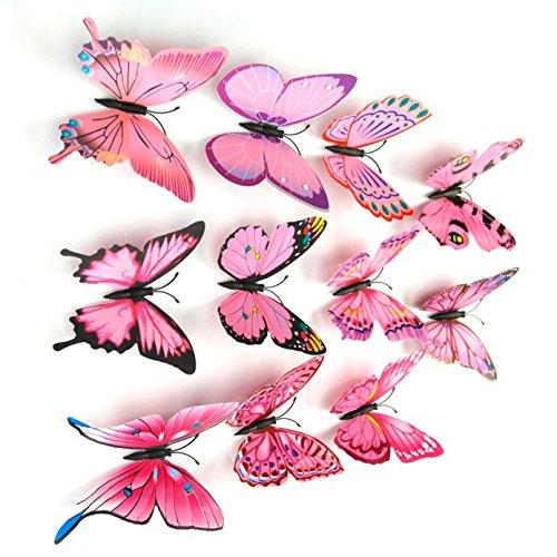 Vovotrade 12 3D Pcs Stickers muraux papillon aimant pour Décoration New (Rose Vif)
