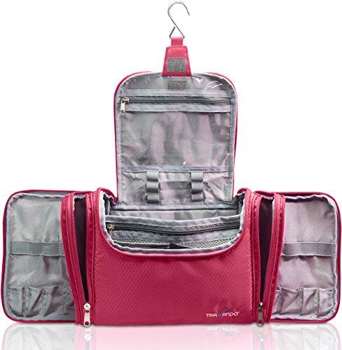 Travando ® XXL Kulturbeutel Damen Groß zum Aufhängen mit 8,8 Liter Volumen | Kosmetiktasche mit 4 Seitentaschen | Waschtasche groß | Beauty Case Kulturtasche groß | Waschbeutel | Reise Toilettentasche