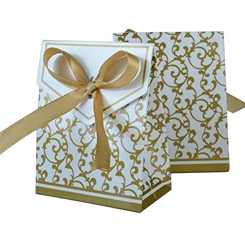 100 stücke Party Geschenke Favor Taschen Bowknot Papier Pralinenschachtel Für Hochzeit Dekoration Kraft Hochzeit Gefälligkeiten Und Geschenken Box (Color : Gold)