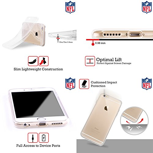 Ufficiale NFL Marmo 2017/18 Detroit Lions Cover Morbida In Gel Per Apple iPhone 6 / 6s LED