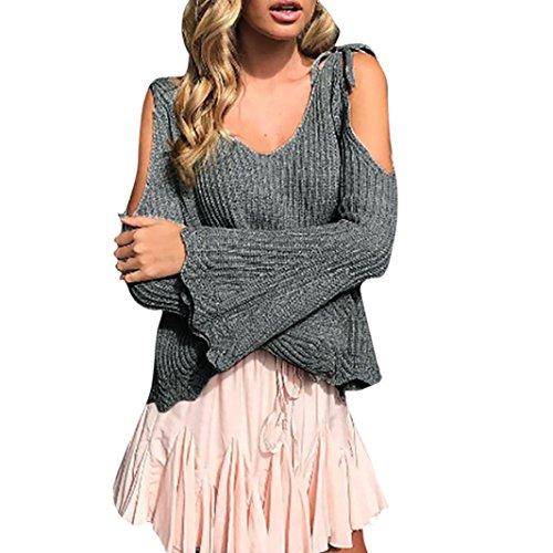 TWBB Bekleidung Damen Pullover, Beiläufig Einfarbig Sling Lautsprecherhülle Lange Ärmel Off Schulter Strickjacke Long Coat (M, Grau)
