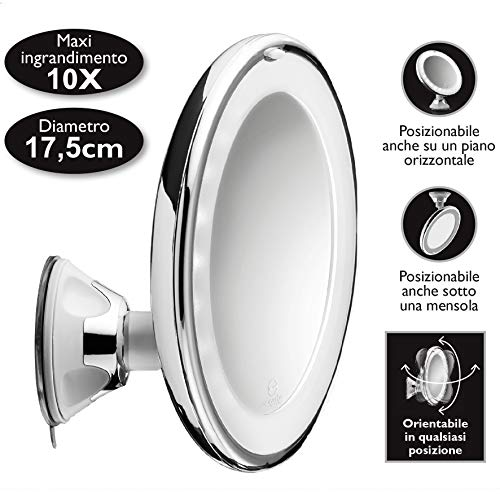 Macom 224 Cromo, Color Blanco - Espejo LED, AAA, 1,5