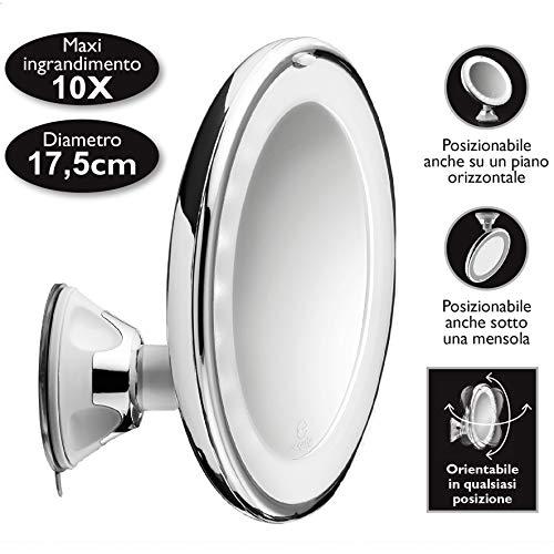 Macom sensation 224 swingo specchio con ventosa cosmetico ingranditore 10x con luci led ottimo per trucco e make up.