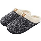 Men's Comfort Memory Foam Slippers Wool-Like Plush Fleece Lined House Shoes w/Indoor, Outdoor Anti-Skid Rubber Sole (12-13 UK/46-47 EU, Black)