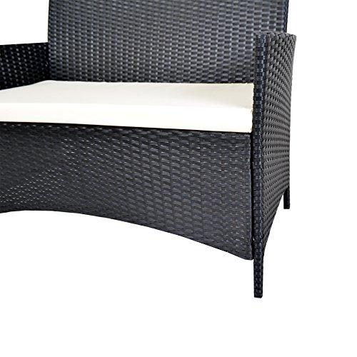 EBS® Polyrattan Gartenmöbel set Gartengarnitur Sitzgruppe Lounge Garnitur 1 Tisch 3 Stühle Weiß Sitzkissen - 3