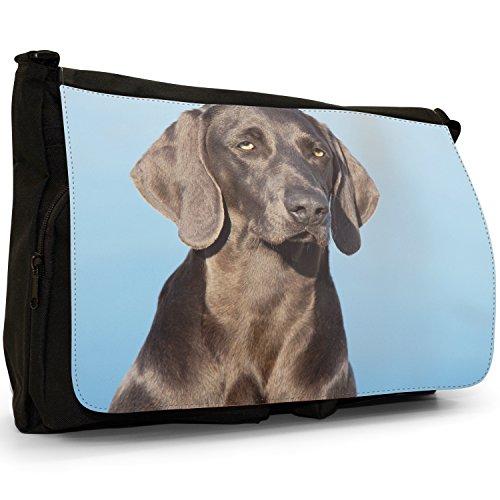 vorstehhund Grigio fantasma Weimaraner cane grande borsa a tracolla Messenger Tela Nera, scuola/Borsa Per Laptop Portrait Of Black Weimaraner
