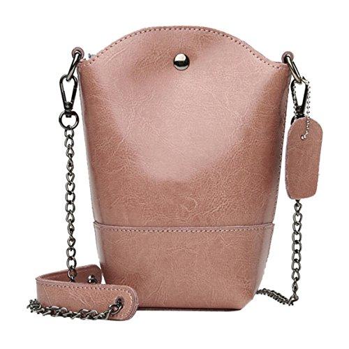 Moonuy,Frauen Umhängetasche, Mädchen Messenger Bags 2018 Mode Leder Mini Eimer Tasche Hasp Eisenketten Heißer Verkauf Hohe Kapazität Crossbody Umhängetasche (Rosa)