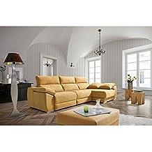 Sofá tres plazas (2 relax eléctrico) más chaiselongue derecha tapizado en tela.Varios colores.
