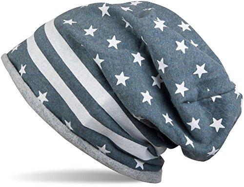 styleBREAKER Bonnet aux Etats-Unis design avec bord roulé, bannière étoilée, Beanie, unisexe 04024057 gris-bleu moucheté