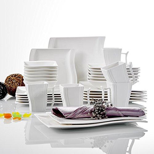 Malacasa FLORA 32pcs Service de Table Porcelaine 6 Assiette Plates, 6 Assiette Creuse, 6 Assiettes à Dessert, 6 Bol à Céréales, 6 Mugs, 2 Assiettes Rectangulaires Hors d'œuvre pour 6 Personnes Céramique Blanc Ivoire
