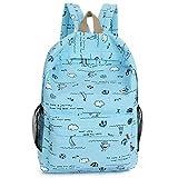 LUYT RucksackSüße Kinder Tasche Cartoon Print Mädchen Rucksack Mode neue tragbare Reise Schultertasche Hellblau