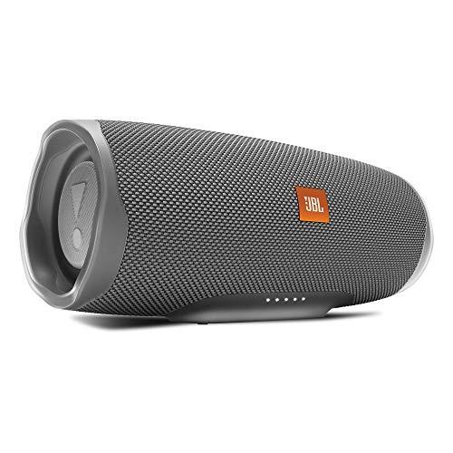 JBL Charge 4 Bluetooth-Lautsprecher in Grau, Wasserfeste, portable Boombox mit integrierter Powerbank, Mit nur einer Akku-Ladung bis zu 20 Stunden kabellos Musik streamen