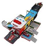 Foxom Parkgarage für Kinder, Parkhaus mit Licht Deformation Parkgarage mit Spielzeugautos und Helikopter, Autogarage Spielzeug für Kinder ab 3 Jahren