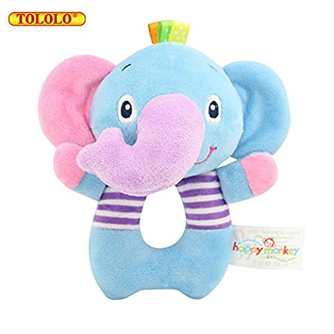 TOLOLO Baby Toys Rattle Doll Animal Soft Plush Cloth Toys Early Education Hand Ring - Elephant