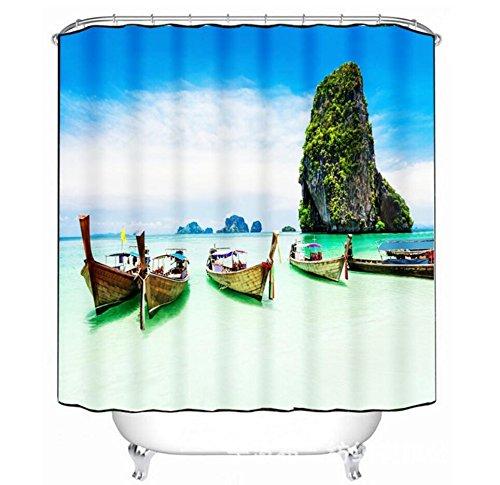 KKLL Duschvorhang 3D Seaside Boot Druck Polyester Gewebe Wasserdicht und Schimmel Schuss Vorhänge Bad Dekoration , 150*180cm -