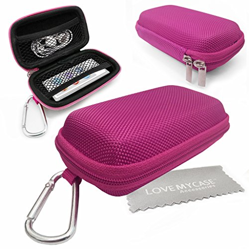 love-my-case-durable-hot-pink-mp3-player-case-hard-clamshell-case-earphone-case-holder-with-metal-ca