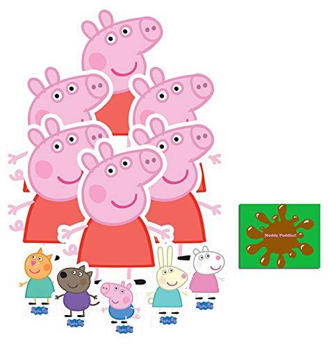 BundleZ-4-FanZ Peppa Pig Offiziell Pappaufsteller Party-Packung mit 11 Stück (beinhaltet Peppa Pig, George Pig, Candy Cat, Danny Dog, Rebecca Rabbit und Suzy Sheep Enthält 6X4 (15X10cm) starfoto (Ausschnitte Promi Pappe)