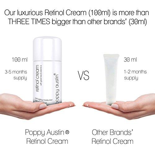 Beste Retinol Creme für Tag & Nacht von Poppy Austin® - Riesig 100ml - 2,5% Retinol, Vitamin E, Grüner Tee & Sheabutter - Anti-Aging-Feuchtigkeitscreme für das Gesicht & 2016 Besten Anti-Falten-Creme -