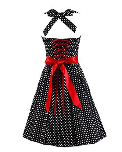 MISSMAO Femme Vintage 1950's 'Audrey Hepburn' Robe de soirée Cocktail 50's 60's Rockabilly Halter Swing Robe Noir Petit Blanc Point