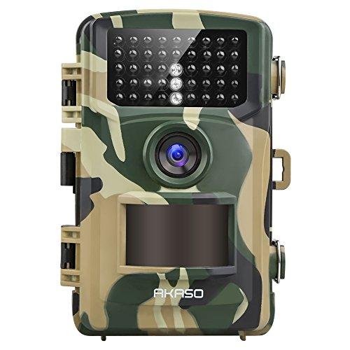 Wildkamera 14MP 1080P Full HD - AKASO Jagdkamera Fotofalle Beutekamera mit Bewegungsmelder 20M Nachtsicht IP66 Wasserdichte 120°Weitwinkel 2.4\'\' LCD Loop-Aufnahme Garten- Hausüberwachung GR