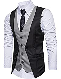 VENMO Männer Formal Tweed Check Zweireihige Weste Retro Slim Fit Anzugjacke  Weste mit zweireihige Knopfleiste Trenchcoat 77fd8adebe