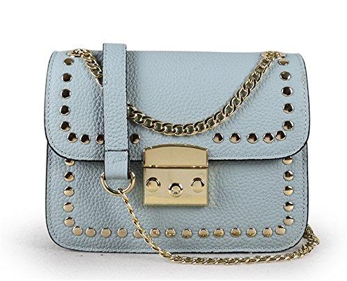 Xinmaoyuan Borse donna borsette in cuoio rivetti piccola piazza Fashion Ladies tracolla messenger bag,rosso Blue