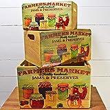 Prezents.com Farmers Market Vintage gemustertes Holz Set mit 3 rustikalen Kisten – perfekt für Zuhause & Küche Aufbewahrung & Moderne Dekoration