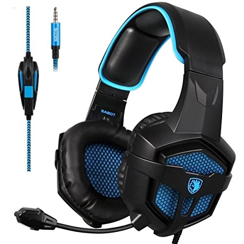 SADES SA 807 Gaming Headset Multi-plateforme Nouvelle Xbox un PS4 Gaming Casques Gaming Casques d'écoute Casques pour Xbox Un PS4 PC Portable Mac iPad iPod (Noir et Bleu)
