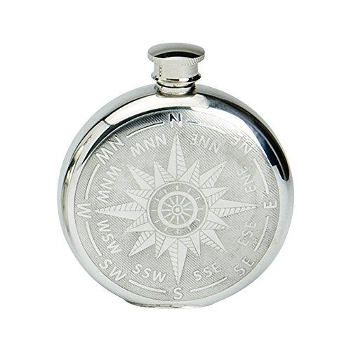 Edwin Blyde & Co forma rotonda con classico Design a bussola Spirito Flask, 6oz, Pewter