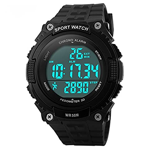 Bozlun Digitale Sportuhr für Herren mit Schrittzähler und Speicher wasserdicht bis 5 bar LED Chronograph Stoppuhr Armbanduhr für Herren und Jungen